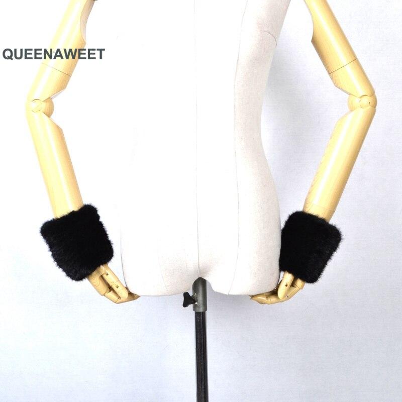 Épaissir les femmes hiver chaud poignet bras gants mode noir raton laveur fourrure manchette dame Bracelet Bracelet bras Warme - 2