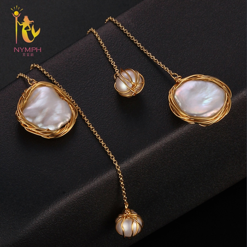 [NYMPH] Long Pearl Earrings For Women Fine Jewelry Freshwater Pearl Earrings Big Baroque 2018 Fashion Engagement Gift E319 fashion silver needle natural freshwater pearl stars in baroque long earrings eardrop fashion temperament