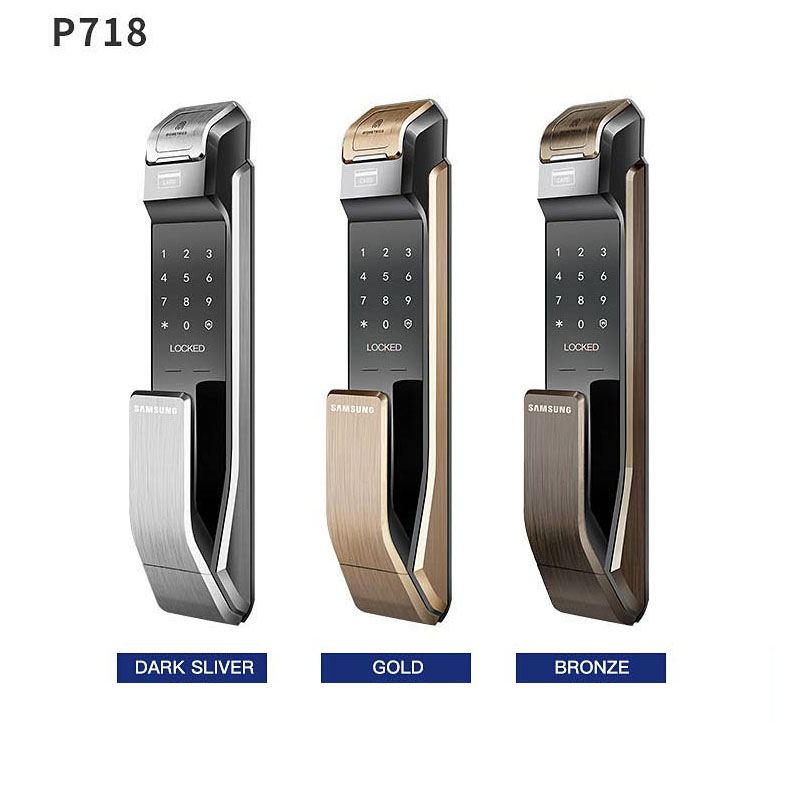 English Verion Big Mortise Samsung SHS-P718 Fingerprint Digital Door Lock / Push Pull Door Lock