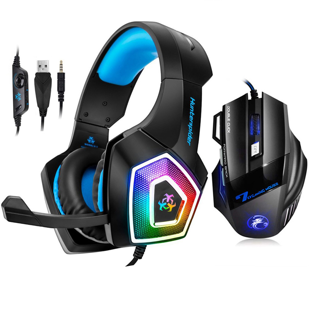 Gaming Headset Stereo Over Ear Bass Heaphone With Mic 7 LED Light for Xbox One PS4 PC+7 Buttons 5500DPI Gaming Mouse Game Mice xiberia v10 pc gamer bass headset gaming for ps4 new xbox one gaming headphones with microphones led light computer game headset