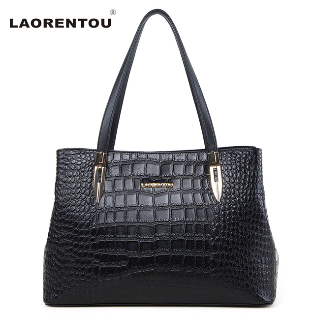 Laorentou Women Leather Handbag Crocodile Cow Leather Shoulder Bag Lady Real Leather Tote Bag Genuine Leather Women Bag N5