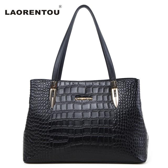 Laorentou Women Leather Handbag Crocodile Cow Leather Shoulder Bag Lady Real Leather Tote Bag Genuine Leather Women Bag N5