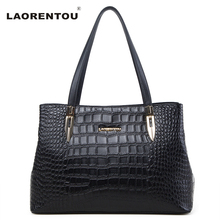 Laorentou Women's Genuine Leather Handbag Crocodile Cow Leather Shoulder Bag Genuine Leather Bag Lady Real Leather Tote Bag N5