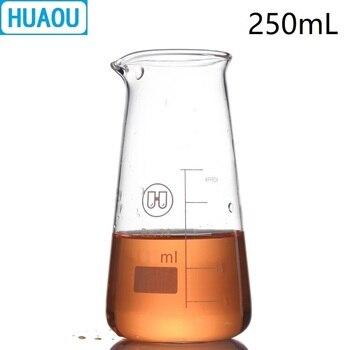 HUAOU 250mL recipiente cónico triángulo borosilicato 3,3 vidrio con graduación boquilla taza de medición equipo de química de laboratorio