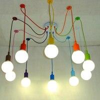 אדיסון רטרו עכביש נברשת תאורת מנורת תליון צבעוני 3-12 ראש סיליקון הצבעוני E27 עבור בר מסעדה חדר שינה
