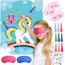 Cute Children Kids Party Decoration Supplier Cartoon Unicorn Pin Game Set 1pcs Poster+ 12 Horns +1 Blindfolds