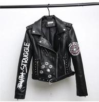 Spring Autumn 2018 New Rivets Letters Print Motorcycle Leather Short Fashion Hip hop Jacket Women's Coats Female Outwear