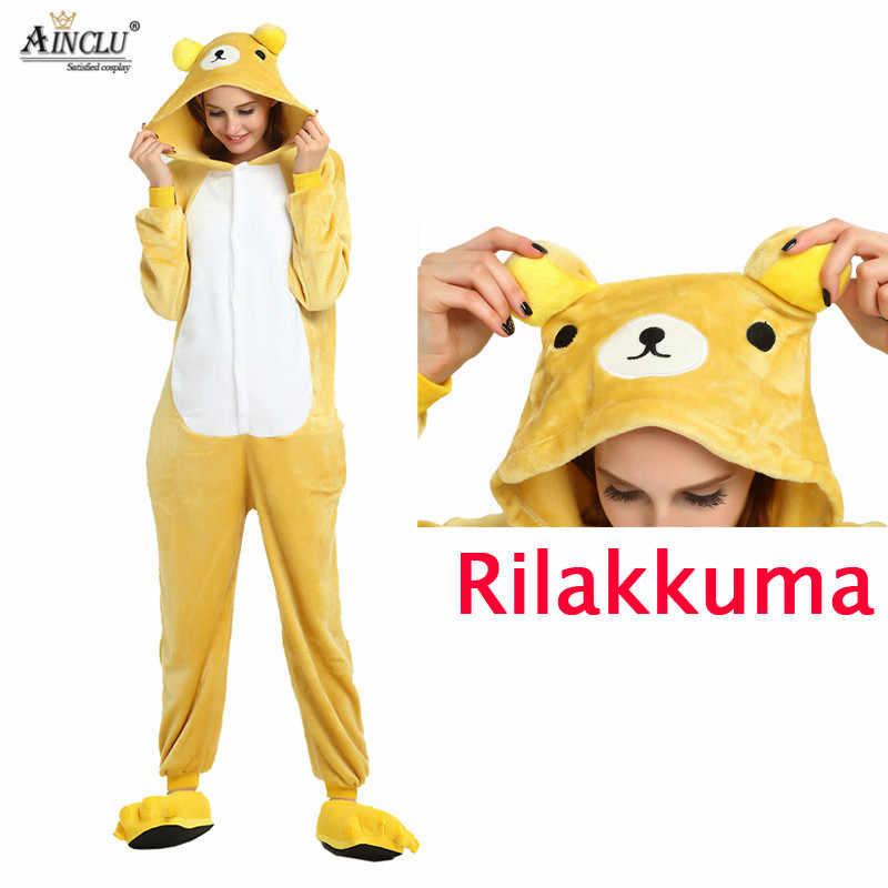 Кигуруми аниме унисекс для взрослых Медведь Rilakkuma комбинезоны детские  пижамы косплэй костюм Хэллоуина Карнавал Маскарад Вечерние f5d58dd9f3cbf