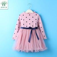Girls Dress 2017 New Autumn Spring Girls Clothes Pink Yellow Long Sleeve Cartoon Dots For Kids