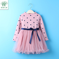 Girls Dress 2017 New Autumn Spring Girls Clothes Pink Yellow Long Sleeve Cartoon Dots For Kids