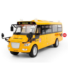 23Cm Length Diecast Metal car American School Bus Model Toy For Children With Openable Door/Music/Light/Pull Back Function model(China)