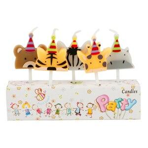 Image 3 - 5 개/대 동물 촛불 케이크 토퍼 동물원 파티 동물 생일 촛불 아이 생일 파티 케이크 촛불 케이크 장식 용품