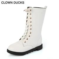 CLOWN DUCKS Autumn Winter Girls Leather Boots Children White Black Mid Calf Rubber Shoes Kids Antiskid