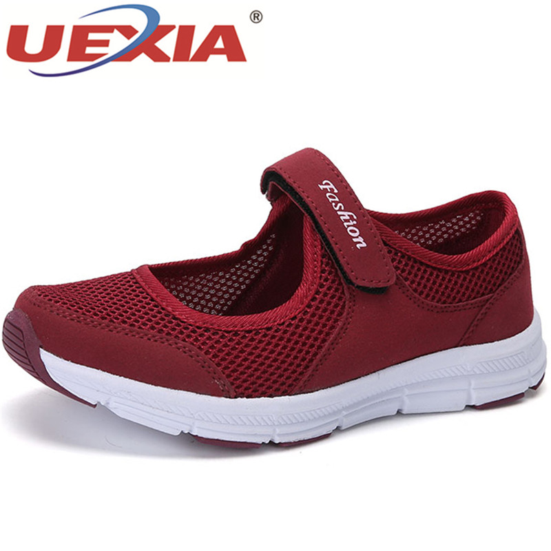 UEXIA 2018 new Fashion Spring-Fall Women Casual Sport Flats Fashion Shoes Mother Walking Loafers Breathable Air Mesh Sneakers new causal shoes women 2016 sport fashion flats height increasing platform loafers breathable air mesh swing wedge walking shoes