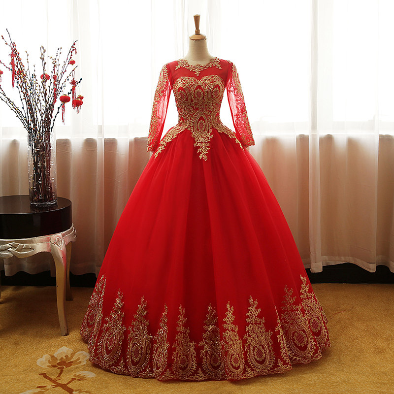 Fashion Vintage Sweet 2018 Free Shipping Lace Red Blue Black Wedding Dress Long Sleeve Plus Size Bridal Ball Gown Robe De Mariee