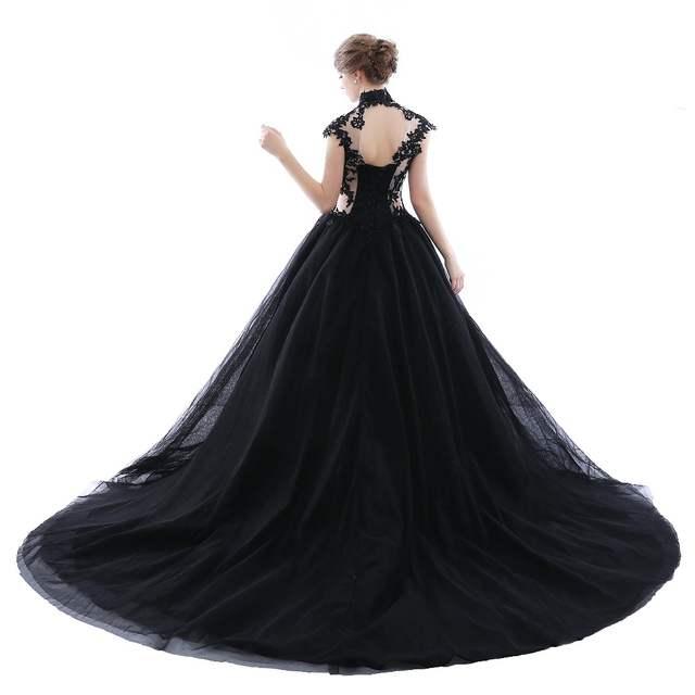 Online Shop BRLMALL High Neck Goth Black Wedding Dresses Plus Size Tulle  Applique vestido de noiva Bridal Gown Ball Church For Bride  9b07ec395bfb