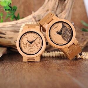 Image 2 - Мужские бамбуковые часы BOBO BIRD, специальные дизайнерские реалистичные деревянные наручные часы с УФ принтом и циферблатом, часы для мужчин, подарок