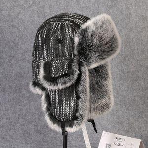 Image 3 - Chapeau bombardier en fourrure en lapin Rex, couvre neige, épaisse et chaude, en fourrure russe pour hommes, couvre oreilles, Ushanka, chaude, B 8433