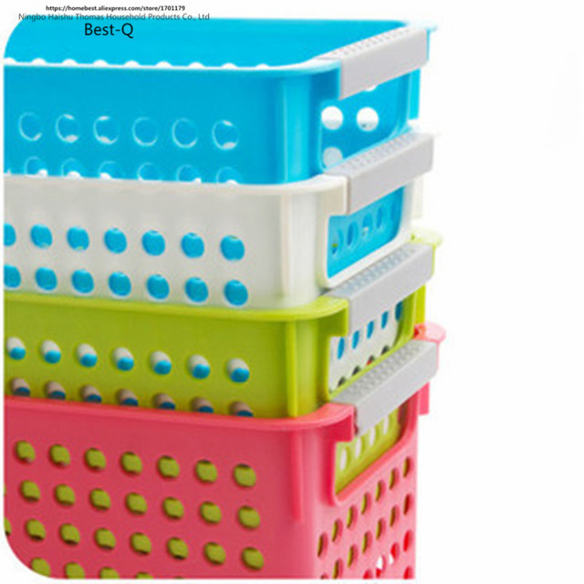 Free Shipping Multi Colored Thickening Rectangle Plastic Storage Basket  Bathroom Desktop Storage Box Basket Plastic