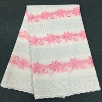 nigerian lace fabrics 100% cotton swiss voile lace african fabric for wedding dress 5yard