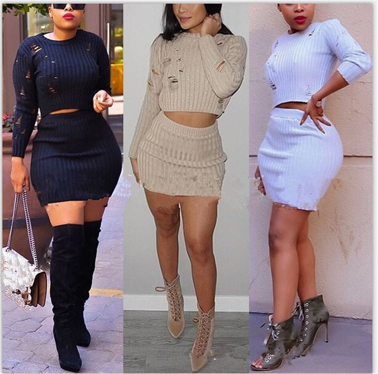 Women Autumn Knitted Dress Sexy 2 Piece Set Fashion Hollow Out Holes Bodycon Mini Dress Sexy Crop Top Ladies Two Piece Set in Women 39 s Sets from Women 39 s Clothing