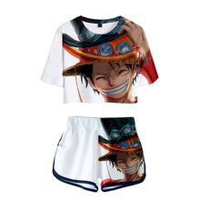 LUCKYFRIDAYF 3D ONE PIECE New Print Summer Shorts And T-shirts print Pop Women Two Piece Sets Cool Crop Top Clothes