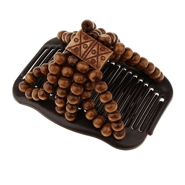 Super Sale 4f83 Beauty Thick Hair Double Clip Wood Beads Combs Bun Maker Hair Accessories For Girls Women Easy Updo Holds Long Short Hair Accs Cicig Co