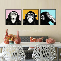 3Pcs Funny Monkey Animal Painting Decorate Living Room Humor Wall Pictures Hanging On Wall Mural No