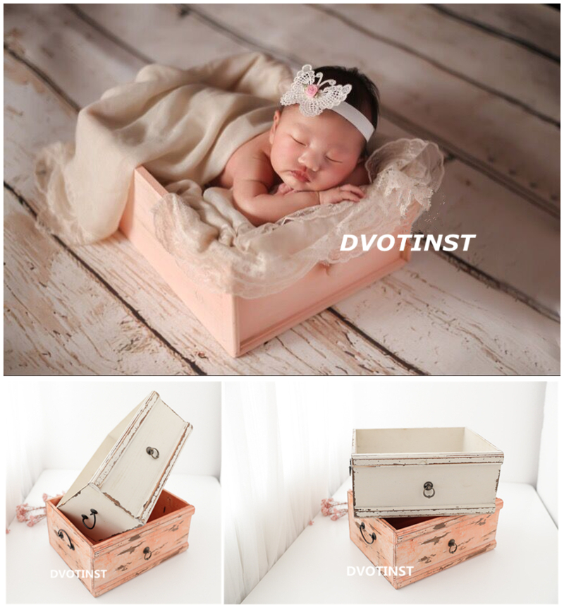 Dvotinst Newborn Photography Props for Baby Wooden Posing Drawer Basket Poser Tub Fotografia Accessories Studio Shoot Photo Prop newborn photography wooden retro basket props little baby picture photo shoot studio posing love box bebe fotografia accessories