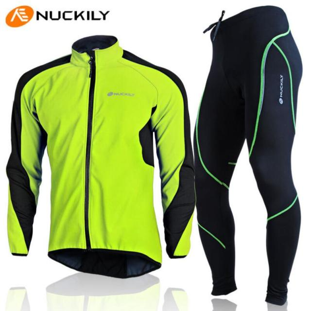 NUCKILY Design Bicycle Jacket Set Winter Fleece Sports Jersey Pants  Windproof Cycling Bike Bicycle Clothing Sets Ropa Ciclismo d4823d206