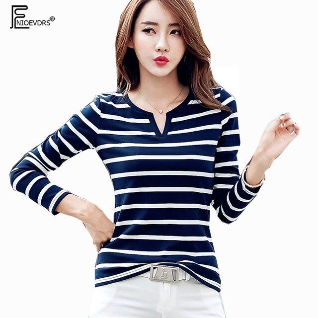 Autumn Winter V Neck Tops Hot Korean Style Design Women Fashion Casual  Black White Blue Striped