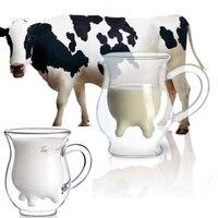 Корова выддер в форме молока устойчивы к двойным стенам крем с двойным остеклением сливки чашки стекло вино пиво прозрачная бутылка кружка