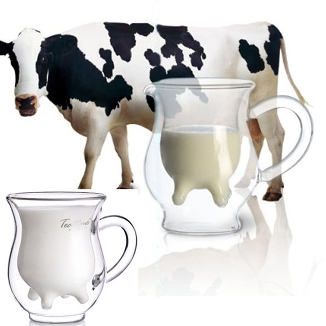 Cow Udder Shaped Milk Resistant Double-walled Cream Double Glazing Creamer Cup Glass Wine Beer Drink Clear Bottle Mug