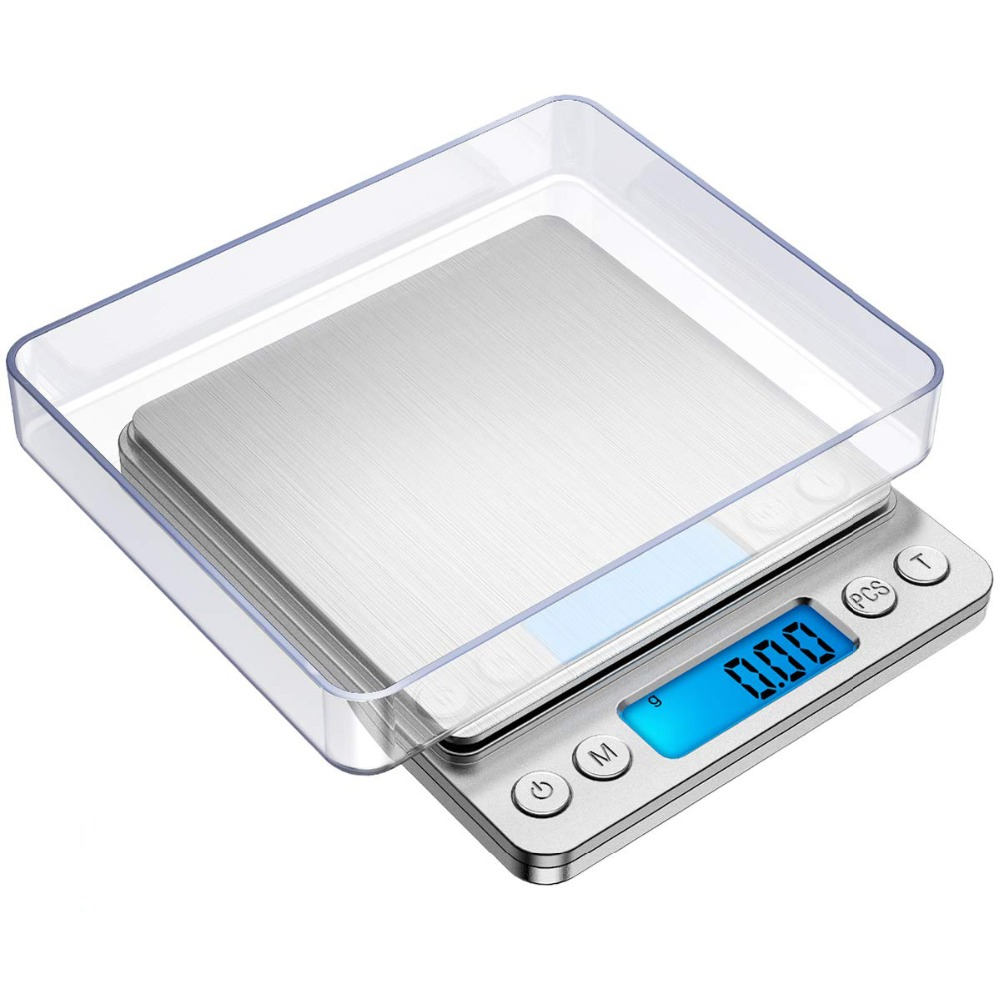 500g x 0.01g Mini Portable Electronic Food Scales Pocket Case Postal Kitchen Jewelry Weight Balanca Digital Scale With 2 Trays