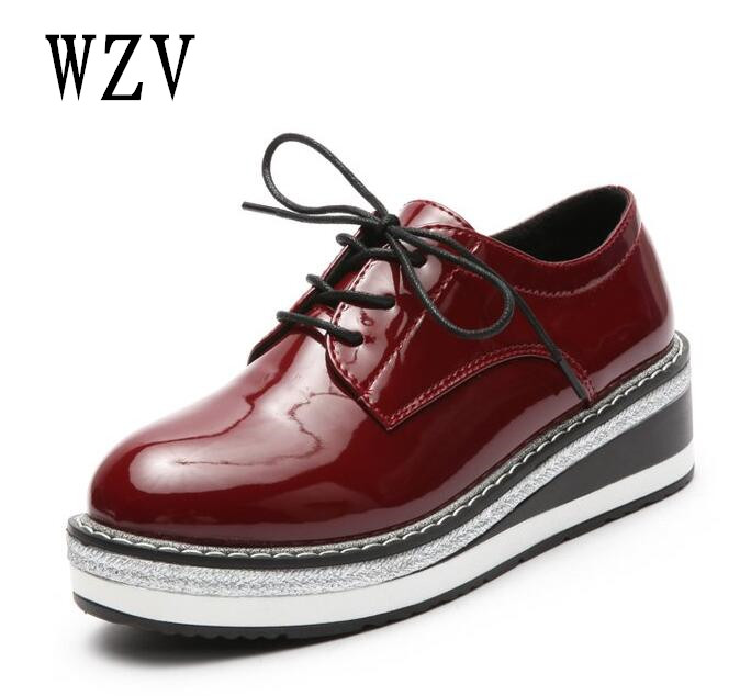 2018 Women Platform Oxfords Brogue Flats Shoes Patent Leather Lace Up Pointed Toe women Shoes for women Casual shoes B78 cnc folding foldable brake clutch levers for suzuki sv650 s1999 2000 2001 2002 2003 2004 2005 2006 2007 2008 2009 2010