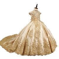 Роскошный Золотой цветок платья для девочек для свадьбы бисером Детские вечерние Длинные бальные платья для девочек нарядные платья со шле