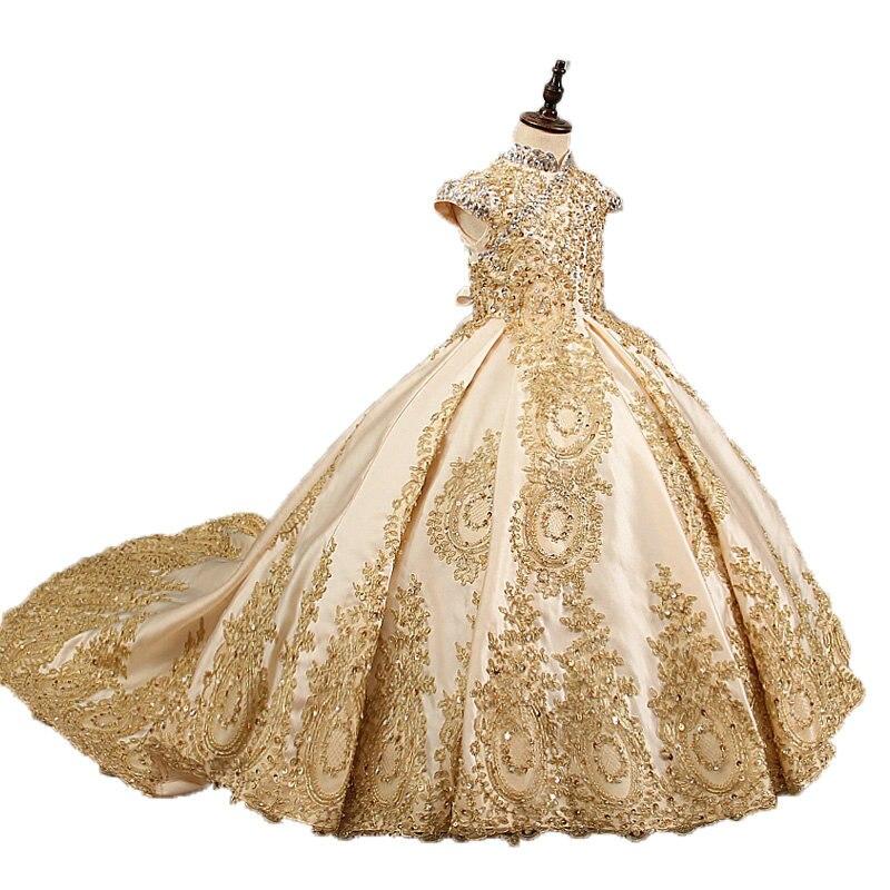 Or de luxe fleur fille robes pour le mariage perlée enfants de soirée robes de bal longue petites filles robes de concours de beauté avec le train