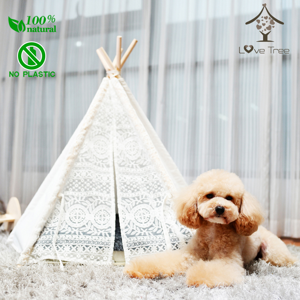 LoveTree Pet Teepee Tent Dogs Cats Bed Room lace teepee Tent with mat hot sale summer cool bed plaid rattan sleeping mat for pet dogs