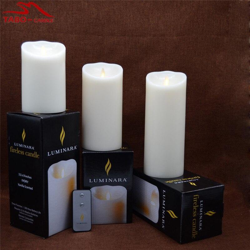 set of 3 luminara ivory flameless candles 35x5 35x7 35x9