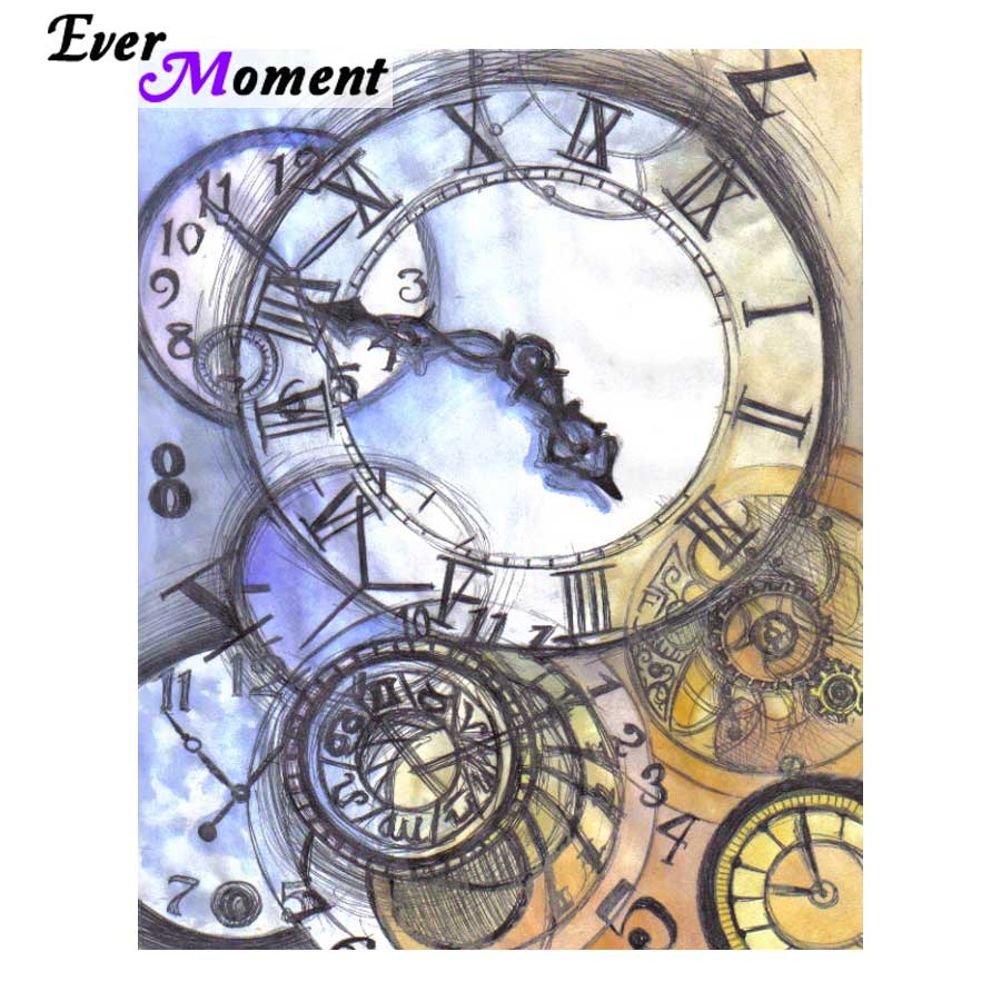 Ever Moment Diamond Painting Cross Stitch Time Clock Diamond Embroidery Stones Modern Art 5D Full Drill Square Docor ASF865