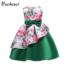 Printted Puckcovi Tutu Meninas Vestido de Verão 2018 vestido de princesa Crianças vestidos de festa Vestidos vestidos De Noiva Verde para a menina 3-10y