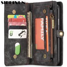 Sibeixun Натуральная кожа флип чехол для iPhone X 8 7 6s 6 Plus второй Слои коровьей многофункциональный бумажник телефонные чехлы для s8 s9