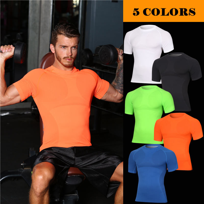 New 2018 Men short sleeve shape light clothing pressure compression GYM O-neck comfort breathable quick-drying clothes