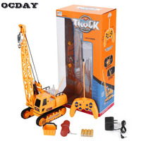 OCDAY Kids Speelgoed RC Auto Graafmachine Draadloze Afstandsbediening Elektrische Techniek Voertuigen Opladen RC Auto Met Batterij Speelgoed Geschenken