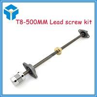 Free Shipping T8 Lead Screw 500 Mm 8mm Brass Copper Nut KFL08 Bearing Bracket Flexible Coupling