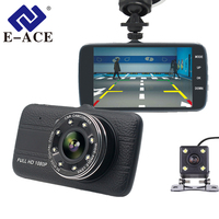 E ACE Auto Registrator Car Dvr Camera Dual Lens Night Vision With Rear View Mirror Full