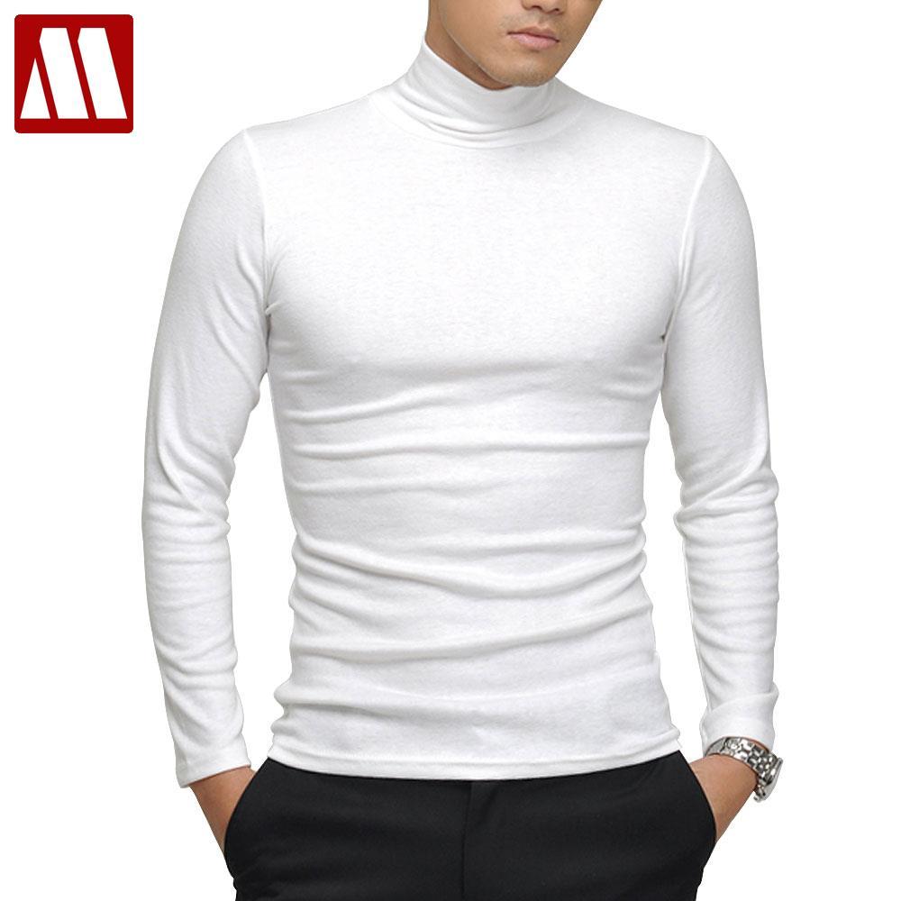 100% Qualität Männer Lange-hülse T-shirt Sexy Rollkragen High-elastische Lycra Baumwolle T Hemd 7 Farben S-xxxl St-803 Freies Verschiffen