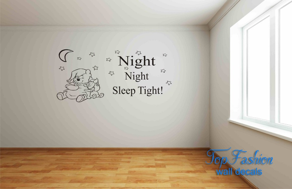 Night Night Sleep Tight ! Winnie The Pooh Wall Sticker / Wall Art Childrens Bedroom Wall Sticker 3 sizes available