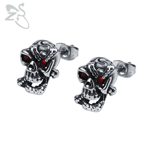 161a0b61d ZS Red Crystal Eyes Skull Earrings Vintage Hip Hop Stud Earring Stainless  Steel Punk Cross Ear Stud Jewelry Accessories for Men