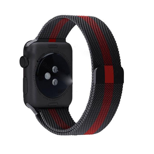 DAHASE Черный и Красный Миланской Нержавеющей Стали Ремешок Для Apple часы Серии 2 Группа Для iWatch 1-й 2-й Магнитного Cosure ремешок для часов